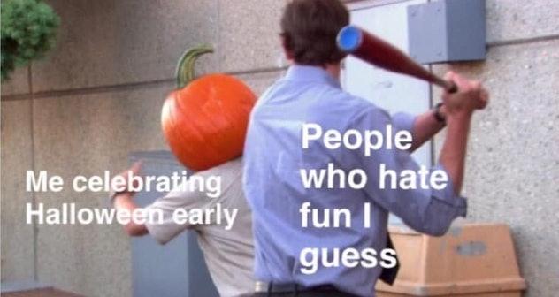 Jim Halpert going after a pumpkin head.