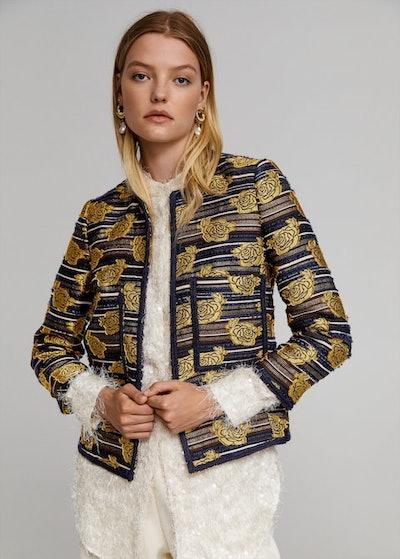 Leandra Medine x Mango Embroidered Jacquard Jacket