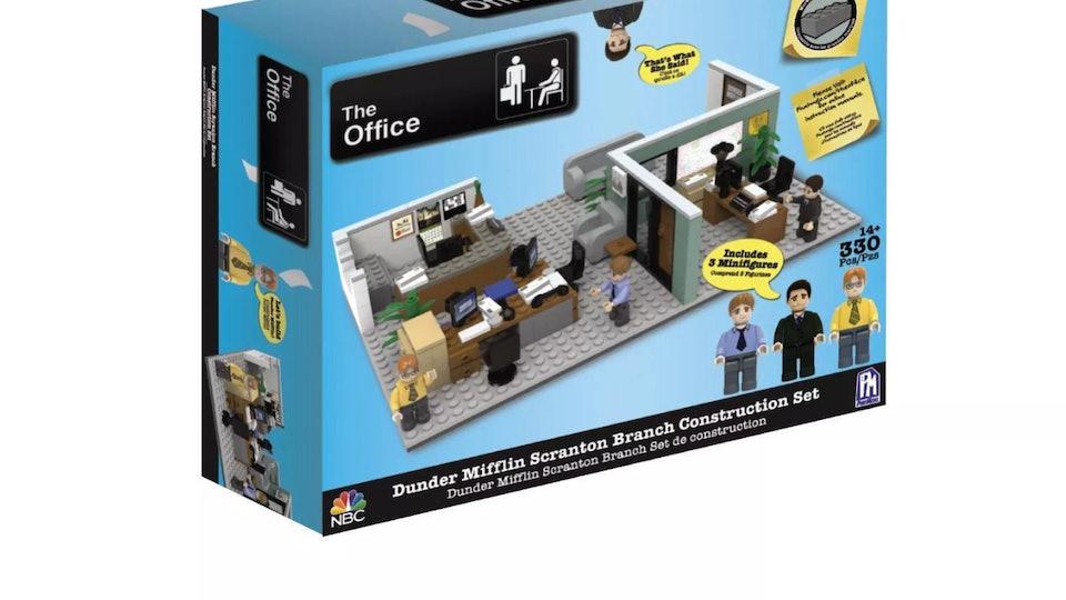 An image of the Dunder Mifflin construction set box.