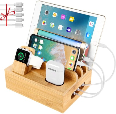 Bamboo Charging Station Dock for Multiple Devices