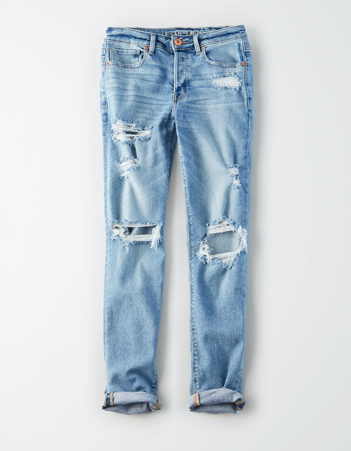 Stretch Tomgirl Jeans in Slashed Sky