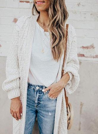 Dearlove Oversized Long Sleeve Open Front Knit Cardigan