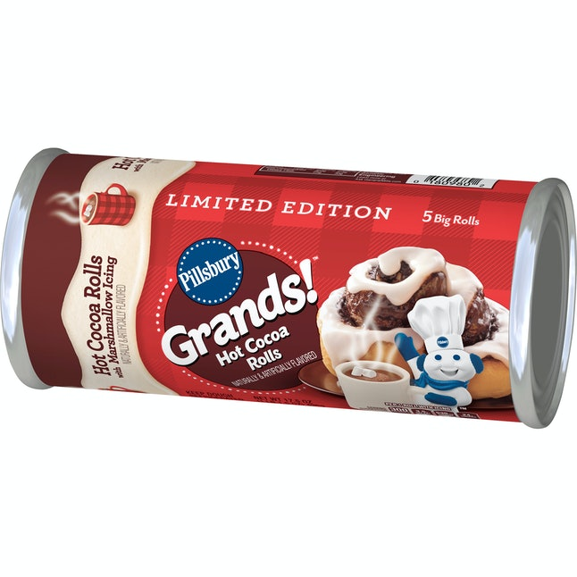 Pillsbury Grands! Hot Cocoa Rolls come with 5 rolls and marshmallow icing.