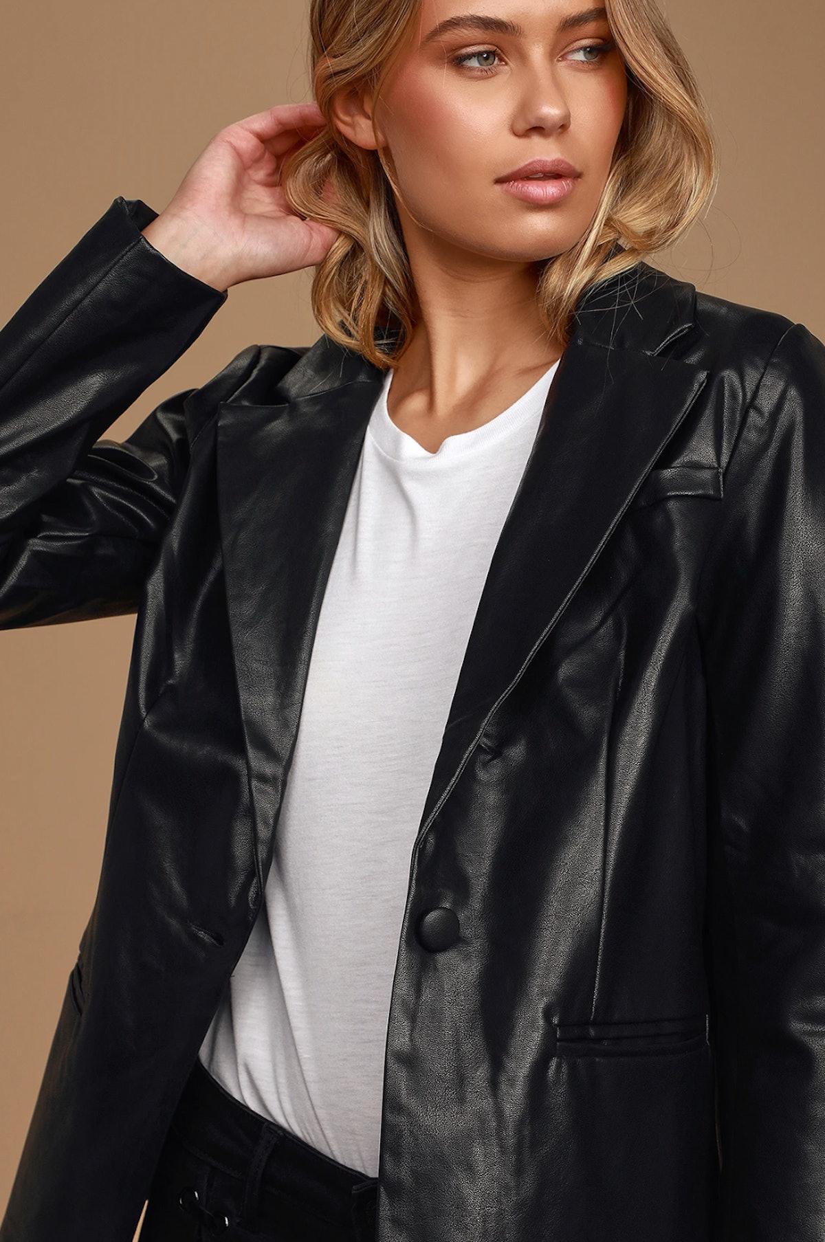 Making Power Moves Black Vegan Leather Blazer