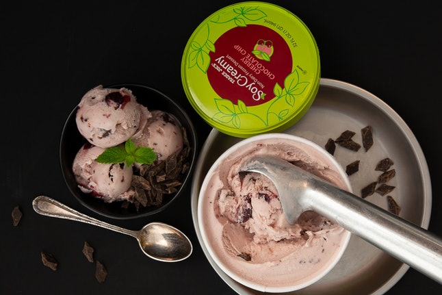 Trader Joe's soy-based cherry chocolate dessert is a must try.