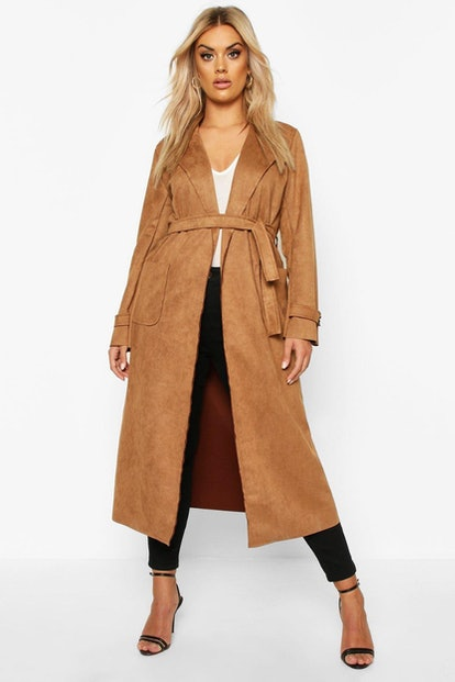 Plus Soft Faux Suede Trench Coat
