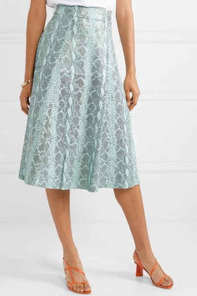 Sosie Snake-Print Leather Midi Skirt