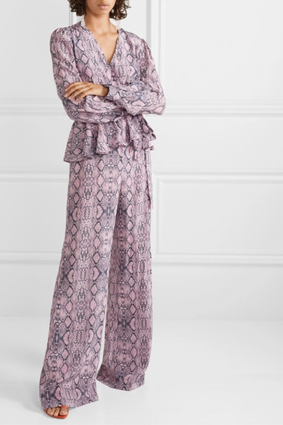 Ruffled Snake-Print Silk Crepe de Chine Wrap-Effect Jumpsuit