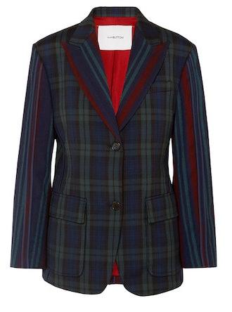 Paneled tartan and striped wool-blend blazer