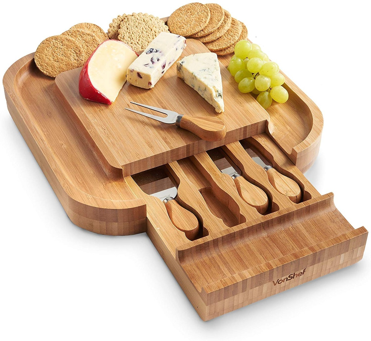 VonShef Square Bamboo Cheese Board (4-Piece Set)