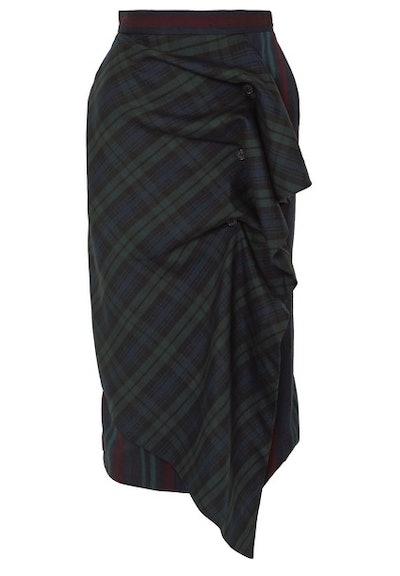 Ruffled paneled tartan and striped wool-blend skirt