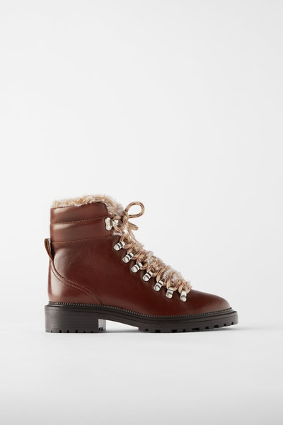 Low-Heel Leather Hiking Boots with Faux Fur Trim