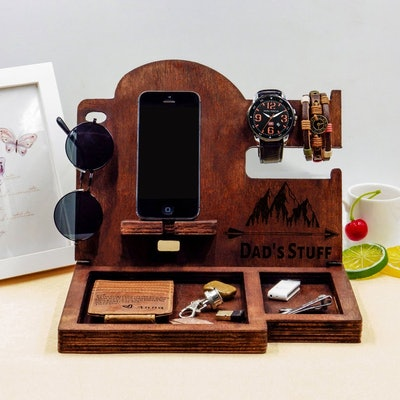 Wood Organizer, Docking Station