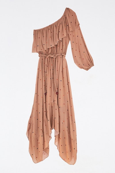 Beige Dots One Shoulder Dress