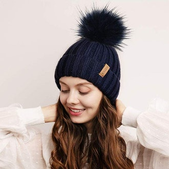 FURTALK Womens Winter Knitted Beanie Hat with Faux Fur Pom