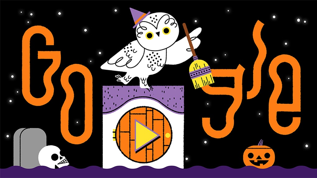 This Halloween Google Doodle features an interactive trick or treat game and cute animals.