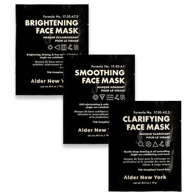 Exfoliating Mud Face Mask Trio of TSA-Compliant Single Use Masks
