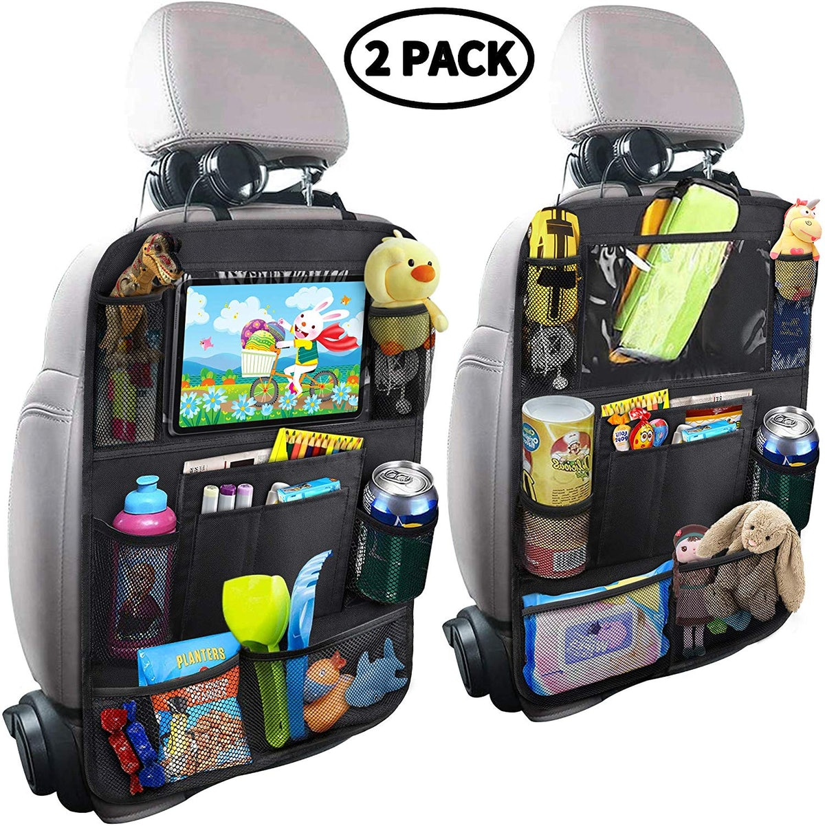 MZTDYTL Car Backseat Organizer with Touch Screen Tablet Holder + 9 Storage Pockets (2-Pack)