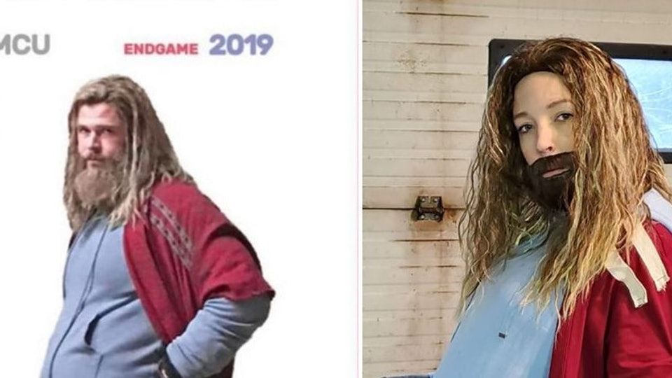 A pregnant woman used Thor from Avengers: End Game as her Halloween costume inspiration