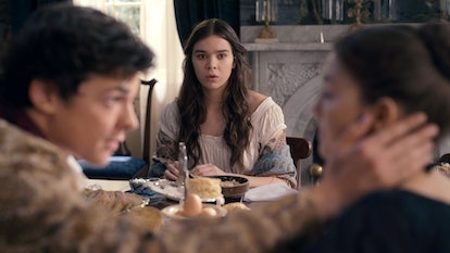 "Hailee Steinfeld, Adrian Blake Enscoe and Ella Hunt in ""Dickinson,"" premiering November 1 on Apple TV+."