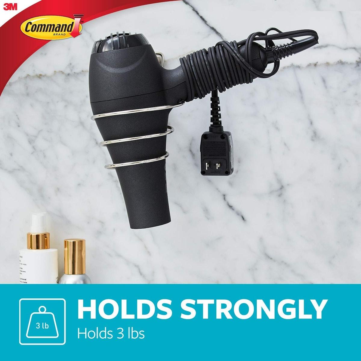Command, Satin Nickel, 1-Hair Dryer Holder