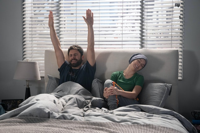 Maggie and Gary joke around in bed on A Million Little Things