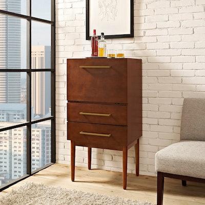Crosley Furniture Everett Spirit Cabinet, Mahogany Finish