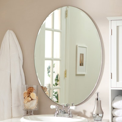 "Medium 22"" x 28"" Oval Beveled Odelia Frameless Wall Mirror by Décor Wonderland"