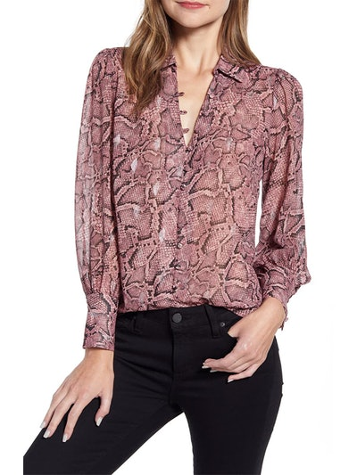 Snakeskin Print Button Front Blouse