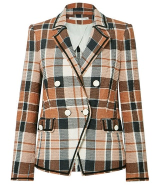 Utah double-breasted checked cotton and linen-blend blazer