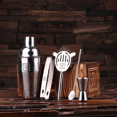 Personalized 5pc Cocktail Shaker Mixer Sets with Wood Storage Box Monogrammed