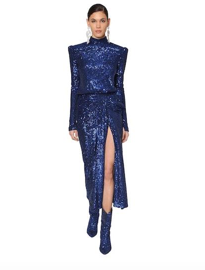 Sequined Techno Midi Dress
