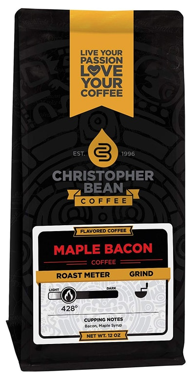 Christopher Bean Coffee Flavored Ground Coffee, Maple Bacon, 12 Ounce