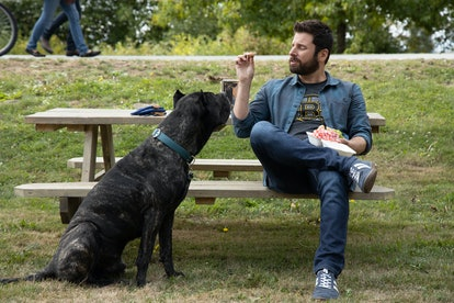 Gary and his dog Colin eating lunch at the park on A Million Little Things
