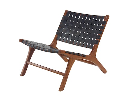 Decmode Rustic Mahogany Wood and Black Leather Country Chair, Brown