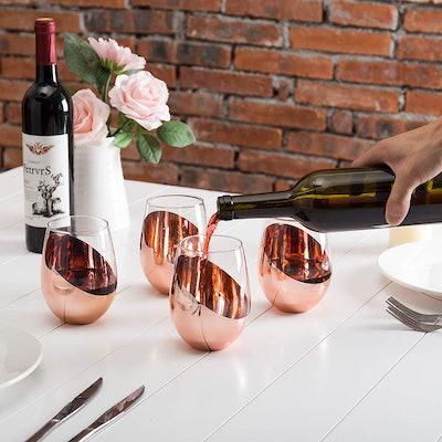 MyGift Modern Copper Stemless Wine Glasses (4-Piece Set)