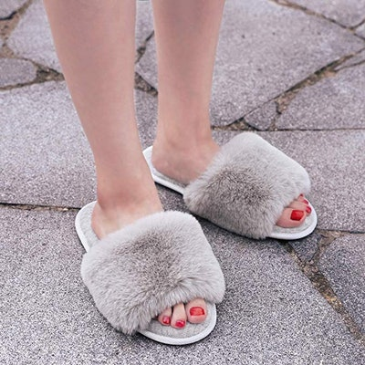 LongBay Faux Bunny Fur Memory Foam Slippers