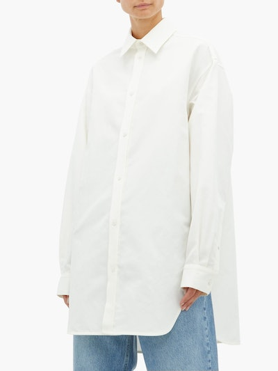 Oversized Drop-Shoulder Cotton Blend Shirt