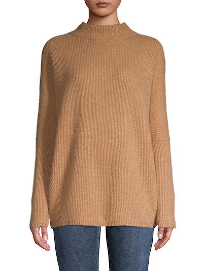 Rib-Knit Cashmere Mockneck Sweater