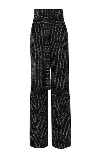 Cutout Jacquard Straight-Leg Pants