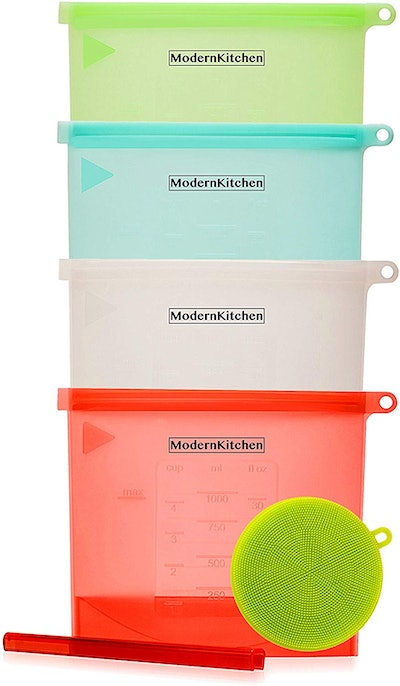 ModernKitchen Resusable Silicone Food Storage Bags (4-Pack)