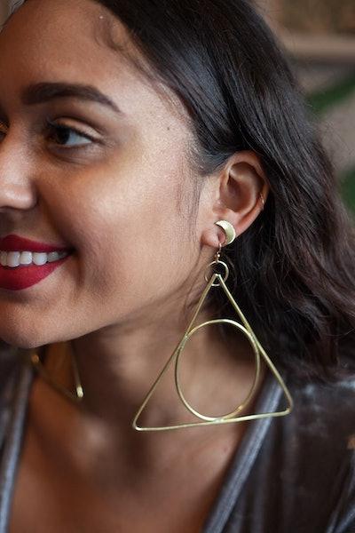 Alchemy Brass Triangle Earrings