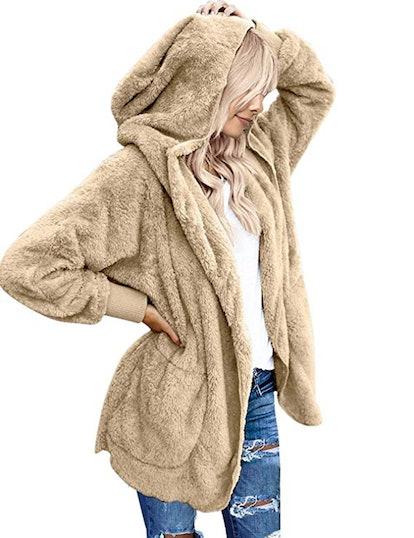LookbookStore Open Front Hooded Cardigan