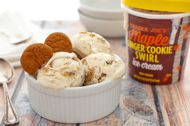 A picture of a bowl of Trader Joe's ginger cookie swirl ice cream.