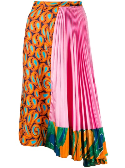 Asymmetric Contrast Print Skirt