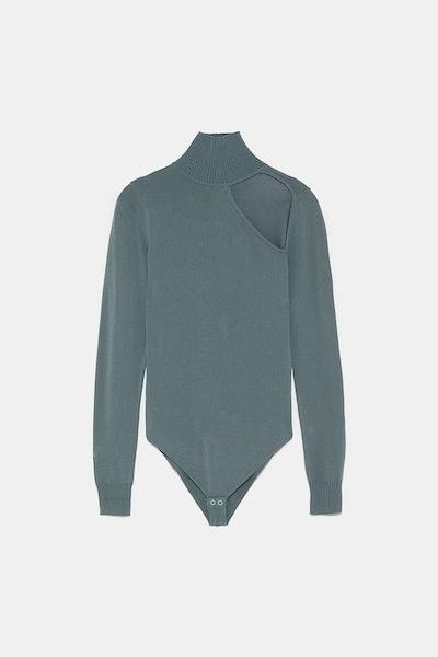Mock-Neck Cutout Bodysuit