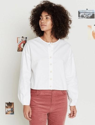 Collarless Crop Shirt