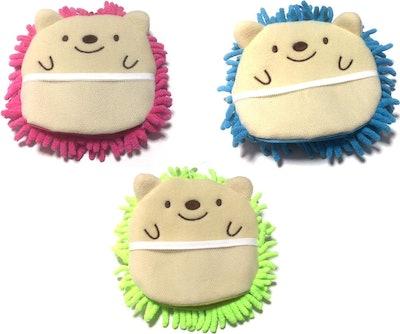 Microfiber Mitten Cute Hedgehog Set of 3
