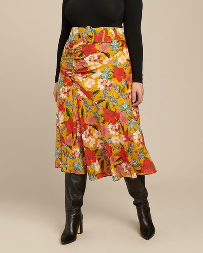 Side Gathered Floral Skirt