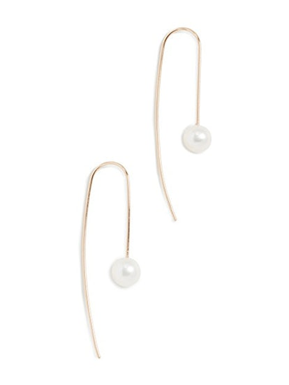 14k Gold White Freshwater Cultured Pearl Wire Earrings